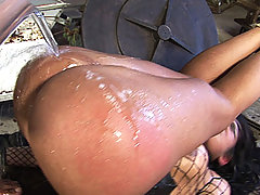 Hot Fishnet Wearing Tranny Tied With Ropes And Fucked Rough