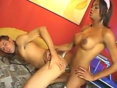 Ebony tranny in stockings fucks guy