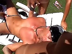 Sexy shemales blows friend outdoor