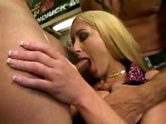 Cutie sucks cocks in shemales orgy