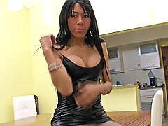 Hot hardcore action with a shemale in pantyhose