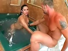 Gorgeous shemale throats huge cock