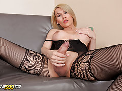 Folks today we bring to you this sexy blonde little cutie showing us some self-loving action. There's one thing we can all agree here at Trans500. It's that when it comes to definite jerk-off skills, Nathy Vaqua has 'em. Don't let her shy demeanor fool yo