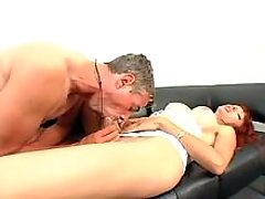 Mature tranny fucked by man on sofa