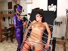 Sexy mistress tortures cute shemale