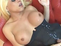 Winsome blond tranny with her lover