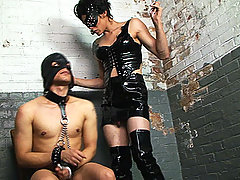 Foxi Forces Her Submissive To Wear A Hood And Spears His Face With Her Cock