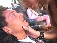 Glamour blond shemale in crazy orgy