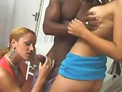 Busty tranny and blackie share girl