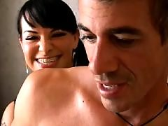 Amazing tranny with big tits gets cum on face