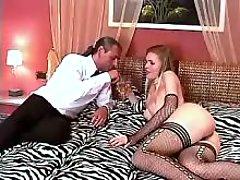 Servant sucks cock of madam shemale