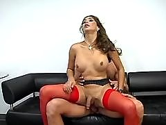 Shemale cums in mouth and gets cum