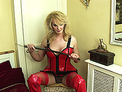 Hot blonde shemale in red latex