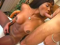 Sweet shemale w big tits tempts guy