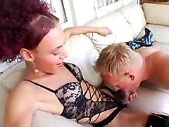 Fancy shemale in lingerie fucks guy