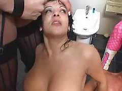 Hot playful tranny get messy facial