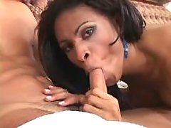 Sexy brunette ts drills guy in ass