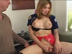 Guy sucks asian tranny in jackboots