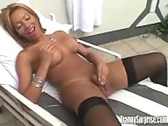 Blonde shemale makes anal on floor