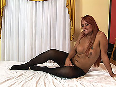 Hot tranny redhead in pantyhose fucking