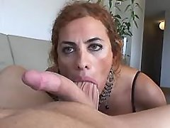 Horny shemale rides cock and jizzes