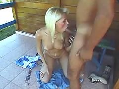 Blonde shemale does perfect blowjob