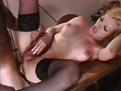 Big cock tranny in stockings fucks