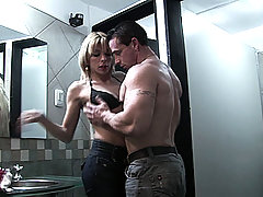 Blonde tranny getting fucked and sucking cock in a bistro